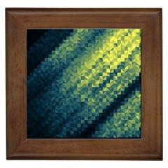 Polygon Dark Triangle Green Blacj Yellow Framed Tiles by Mariart