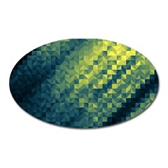 Polygon Dark Triangle Green Blacj Yellow Oval Magnet by Mariart