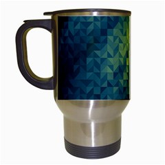 Polygon Dark Triangle Green Blacj Yellow Travel Mugs (white) by Mariart
