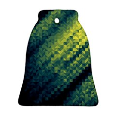 Polygon Dark Triangle Green Blacj Yellow Bell Ornament (two Sides) by Mariart