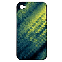 Polygon Dark Triangle Green Blacj Yellow Apple Iphone 4/4s Hardshell Case (pc+silicone) by Mariart