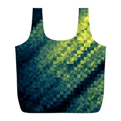 Polygon Dark Triangle Green Blacj Yellow Full Print Recycle Bags (l)  by Mariart