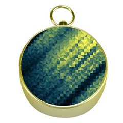 Polygon Dark Triangle Green Blacj Yellow Gold Compasses by Mariart
