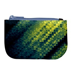 Polygon Dark Triangle Green Blacj Yellow Large Coin Purse by Mariart