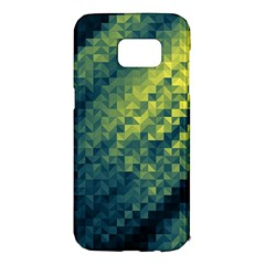Polygon Dark Triangle Green Blacj Yellow Samsung Galaxy S7 Edge Hardshell Case by Mariart