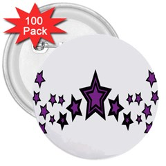 Star Purple Space 3  Buttons (100 Pack)  by Mariart