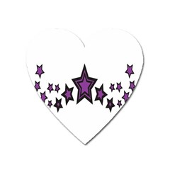 Star Purple Space Heart Magnet by Mariart