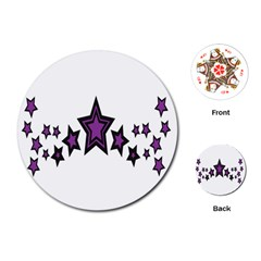 Star Purple Space Playing Cards (round)  by Mariart