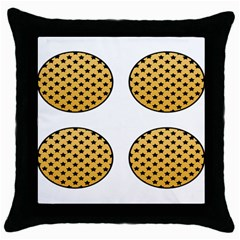 Star Circle Orange Round Polka Throw Pillow Case (black) by Mariart