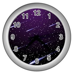 Starry Night Sky Meteor Stock Vectors Clipart Illustrations Wall Clocks (silver)  by Mariart
