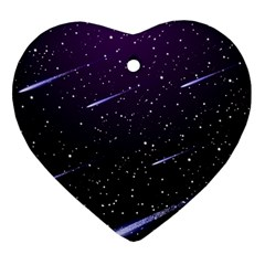 Starry Night Sky Meteor Stock Vectors Clipart Illustrations Heart Ornament (two Sides) by Mariart