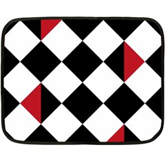 Survace Floor Plaid Bleck Red White Double Sided Fleece Blanket (mini)  by Mariart