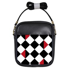 Survace Floor Plaid Bleck Red White Girls Sling Bags by Mariart