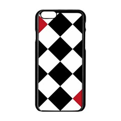 Survace Floor Plaid Bleck Red White Apple Iphone 6/6s Black Enamel Case by Mariart