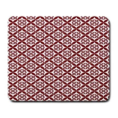 Pattern Kawung Star Line Plaid Flower Floral Red Large Mousepads by Mariart