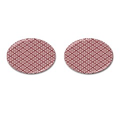 Pattern Kawung Star Line Plaid Flower Floral Red Cufflinks (oval) by Mariart