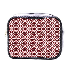 Pattern Kawung Star Line Plaid Flower Floral Red Mini Toiletries Bags by Mariart