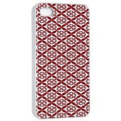 Pattern Kawung Star Line Plaid Flower Floral Red Apple Iphone 4/4s Seamless Case (white) by Mariart