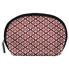 Pattern Kawung Star Line Plaid Flower Floral Red Accessory Pouches (large)  by Mariart