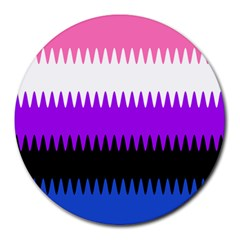 Sychnogender Techno Genderfluid Flags Wave Waves Chevron Round Mousepads by Mariart