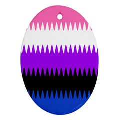 Sychnogender Techno Genderfluid Flags Wave Waves Chevron Oval Ornament (two Sides) by Mariart