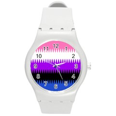 Sychnogender Techno Genderfluid Flags Wave Waves Chevron Round Plastic Sport Watch (m) by Mariart