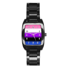 Sychnogender Techno Genderfluid Flags Wave Waves Chevron Stainless Steel Barrel Watch by Mariart