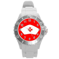 Tabla Laboral Sign Red White Round Plastic Sport Watch (l) by Mariart