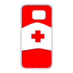 Tabla Laboral Sign Red White Samsung Galaxy S7 Edge White Seamless Case by Mariart