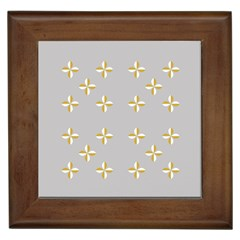 Syrface Flower Floral Gold White Space Star Framed Tiles by Mariart