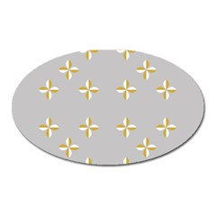 Syrface Flower Floral Gold White Space Star Oval Magnet by Mariart
