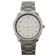 Syrface Flower Floral Gold White Space Star Sport Metal Watch by Mariart