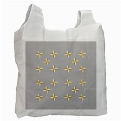 Syrface Flower Floral Gold White Space Star Recycle Bag (one Side) by Mariart
