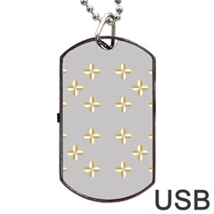 Syrface Flower Floral Gold White Space Star Dog Tag Usb Flash (one Side) by Mariart