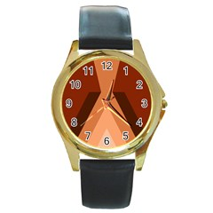 Volcano Lava Gender Magma Flags Line Brown Round Gold Metal Watch by Mariart