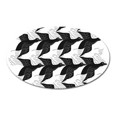 Swan Black Animals Fly Oval Magnet by Mariart