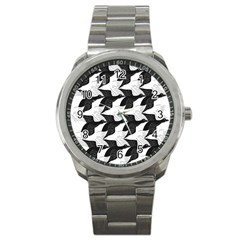 Swan Black Animals Fly Sport Metal Watch by Mariart