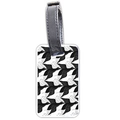 Swan Black Animals Fly Luggage Tags (one Side)  by Mariart