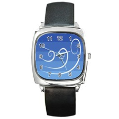 Ventigender Flags Wave Waves Chevron Leaf Blue White Square Metal Watch by Mariart