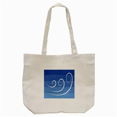 Ventigender Flags Wave Waves Chevron Leaf Blue White Tote Bag (cream) by Mariart