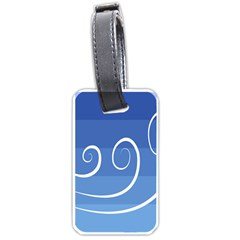 Ventigender Flags Wave Waves Chevron Leaf Blue White Luggage Tags (one Side)  by Mariart