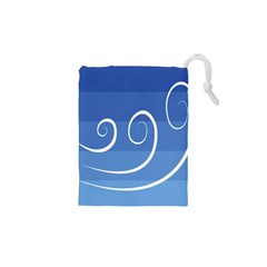 Ventigender Flags Wave Waves Chevron Leaf Blue White Drawstring Pouches (xs)  by Mariart