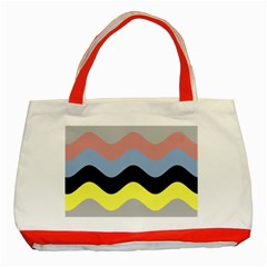 Wave Waves Chevron Sea Beach Rainbow Classic Tote Bag (red) by Mariart