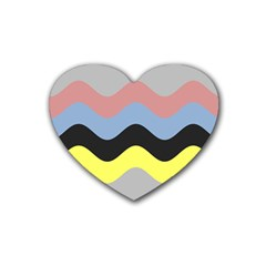 Wave Waves Chevron Sea Beach Rainbow Rubber Coaster (heart)  by Mariart