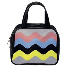 Wave Waves Chevron Sea Beach Rainbow Classic Handbags (one Side) by Mariart