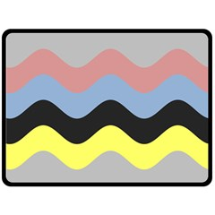 Wave Waves Chevron Sea Beach Rainbow Double Sided Fleece Blanket (large)  by Mariart