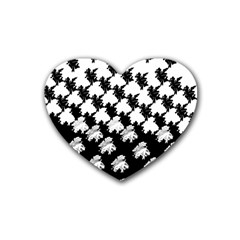 Transforming Escher Tessellations Full Page Dragon Black Animals Rubber Coaster (heart)  by Mariart