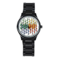 Rainbow Fish Stainless Steel Round Watch by Mariart