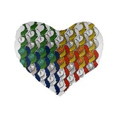 Rainbow Fish Standard 16  Premium Flano Heart Shape Cushions by Mariart