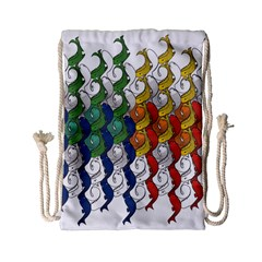 Rainbow Fish Drawstring Bag (small) by Mariart
